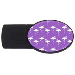 Flamingo White On Lavender Pattern 4gb Usb Flash Drive (oval) by CrypticFragmentsColors