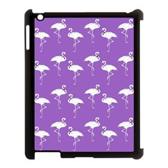 Flamingo White On Lavender Pattern Apple Ipad 3/4 Case (black) by CrypticFragmentsColors