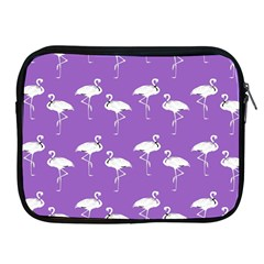 Flamingo White On Lavender Pattern Apple Ipad Zippered Sleeve by CrypticFragmentsColors