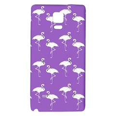 Flamingo White On Lavender Pattern Samsung Note 4 Hardshell Back Case by CrypticFragmentsColors