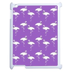 Flamingo White On Lavender Pattern Apple Ipad 2 Case (white) by CrypticFragmentsColors