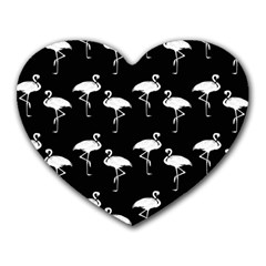 Flamingo Pattern White On Black  Mouse Pad (heart) by CrypticFragmentsColors