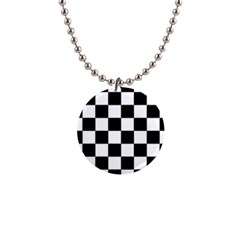Checkered Flag Race Winner Mosaic Tile Pattern Button Necklace by CrypticFragmentsColors