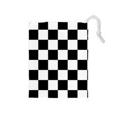 Checkered Flag Race Winner Mosaic Tile Pattern Drawstring Pouch (medium) by CrypticFragmentsColors