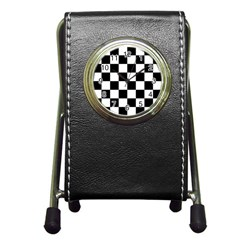 Checkered Flag Race Winner Mosaic Tile Pattern Stationery Holder Clock by CrypticFragmentsColors