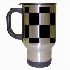 Checkered Flag Race Winner Mosaic Tile Pattern Travel Mug (silver Gray) by CrypticFragmentsColors
