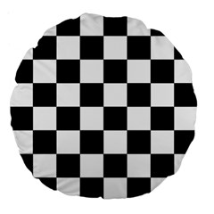 Checkered Flag Race Winner Mosaic Tile Pattern 18  Premium Flano Round Cushion  by CrypticFragmentsColors