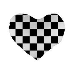 Checkered Flag Race Winner Mosaic Tile Pattern 16  Premium Flano Heart Shape Cushion  by CrypticFragmentsColors