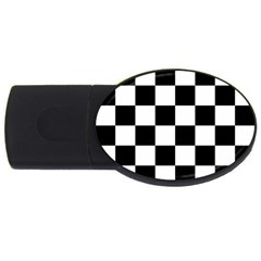 Checkered Flag Race Winner Mosaic Tile Pattern 2gb Usb Flash Drive (oval) by CrypticFragmentsColors