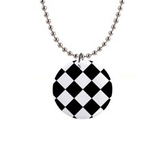 Harlequin Diamond Mosaic Tile Pattern Black White Button Necklace by CrypticFragmentsColors