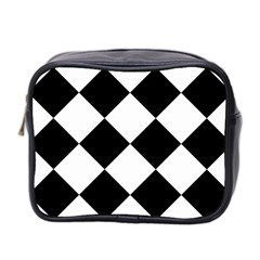 Harlequin Diamond Mosaic Tile Pattern Black White Mini Travel Toiletry Bag (two Sides) by CrypticFragmentsColors