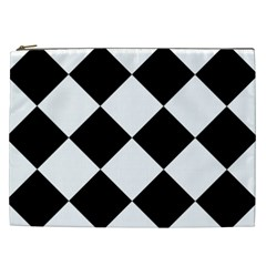Harlequin Diamond Mosaic Tile Pattern Black White Cosmetic Bag (xxl) by CrypticFragmentsColors
