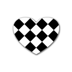 Harlequin Diamond Mosaic Tile Pattern Black White Drink Coasters 4 Pack (heart)  by CrypticFragmentsColors
