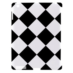 Harlequin Diamond Mosaic Tile Pattern Black White Apple Ipad 3/4 Hardshell Case (compatible With Smart Cover) by CrypticFragmentsColors