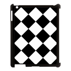 Harlequin Diamond Mosaic Tile Pattern Black White Apple Ipad 3/4 Case (black) by CrypticFragmentsColors