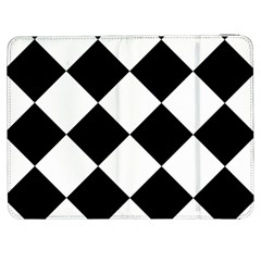 Harlequin Diamond Mosaic Tile Pattern Black White Samsung Galaxy Tab 7  P1000 Flip Case by CrypticFragmentsColors
