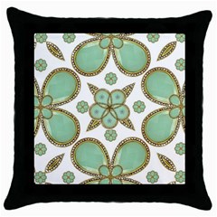 Luxury Decorative Pattern Collage Black Throw Pillow Case by dflcprints
