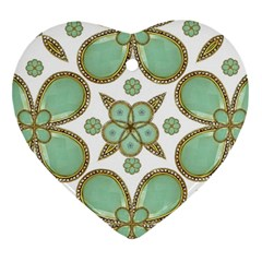 Luxury Decorative Pattern Collage Heart Ornament (two Sides) by dflcprints