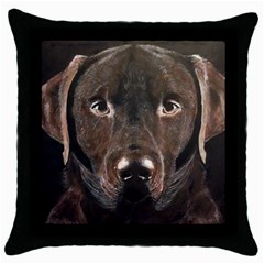 Chocolate Lab Black Throw Pillow Case by LabsandRetrievers