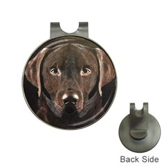 Chocolate Lab Hat Clip With Golf Ball Marker by LabsandRetrievers