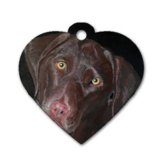 Inquisitive Chocolate Lab Dog Tag Heart (two Sided) by LabsandRetrievers