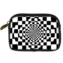 Checkered Flag Race Winner Mosaic Tile Pattern Repeat Digital Camera Leather Case by CrypticFragmentsColors