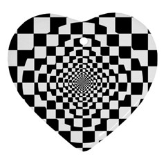 Checkered Flag Race Winner Mosaic Tile Pattern Repeat Heart Ornament by CrypticFragmentsColors