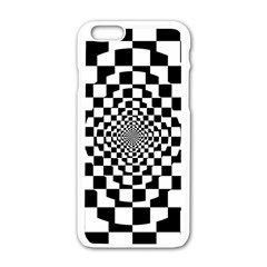 Checkered Flag Race Winner Mosaic Tile Pattern Repeat Apple Iphone 6 White Enamel Case by CrypticFragmentsColors
