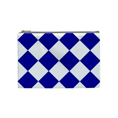Harlequin Diamond Pattern Cobalt Blue White Cosmetic Bag (medium) by CrypticFragmentsColors
