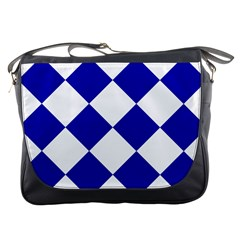 Harlequin Diamond Pattern Cobalt Blue White Messenger Bag by CrypticFragmentsColors