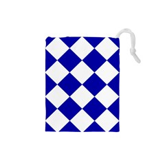 Harlequin Diamond Pattern Cobalt Blue White Drawstring Pouch (small) by CrypticFragmentsColors