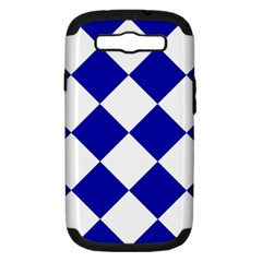 Harlequin Diamond Pattern Cobalt Blue White Samsung Galaxy S Iii Hardshell Case (pc+silicone) by CrypticFragmentsColors