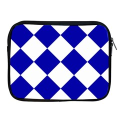 Harlequin Diamond Pattern Cobalt Blue White Apple iPad Zippered Sleeve by CrypticFragmentsColors