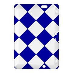 Harlequin Diamond Pattern Cobalt Blue White Kindle Fire HDX 8.9  Hardshell Case by CrypticFragmentsColors