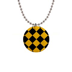 Harlequin Diamond Gold Black Button Necklace by CrypticFragmentsColors