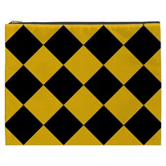 Harlequin Diamond Gold Black Cosmetic Bag (xxxl) by CrypticFragmentsColors