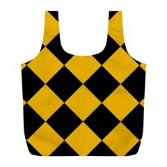 Harlequin Diamond Gold Black Reusable Bag (l) by CrypticFragmentsColors