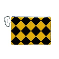 Harlequin Diamond Gold Black Canvas Cosmetic Bag (medium)