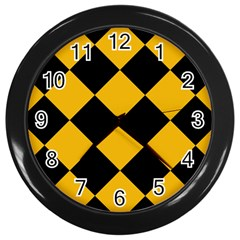 Harlequin Diamond Gold Black Wall Clock (black) by CrypticFragmentsColors