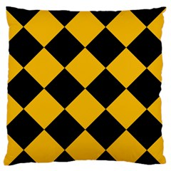 Harlequin Diamond Gold Black Large Flano Cushion Case (one Side) by CrypticFragmentsColors