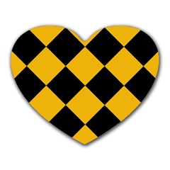 Harlequin Diamond Gold Black Mouse Pad (heart) by CrypticFragmentsColors