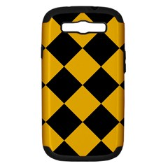 Harlequin Diamond Gold Black Samsung Galaxy S Iii Hardshell Case (pc+silicone) by CrypticFragmentsColors