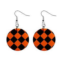 Harlequin Diamond Orange Black Mini Button Earrings by CrypticFragmentsColors