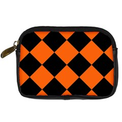 Harlequin Diamond Orange Black Digital Camera Leather Case by CrypticFragmentsColors