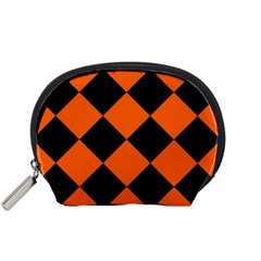 Harlequin Diamond Orange Black Accessory Pouch (small) by CrypticFragmentsColors
