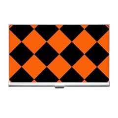 Harlequin Diamond Orange Black Business Card Holder by CrypticFragmentsColors
