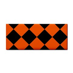 Harlequin Diamond Orange Black Hand Towel by CrypticFragmentsColors