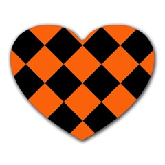 Harlequin Diamond Orange Black Mouse Pad (heart) by CrypticFragmentsColors