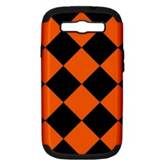 Harlequin Diamond Orange Black Samsung Galaxy S Iii Hardshell Case (pc+silicone) by CrypticFragmentsColors