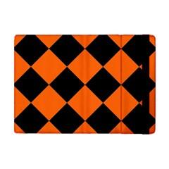 Harlequin Diamond Orange Black Apple iPad Mini Flip Case by CrypticFragmentsColors